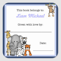 Jungle Animals Book Plate Blue Boy BOOKPLATE