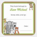 Jungle Animals Book Plate Green Boy BOOKPLATE Square Sticker