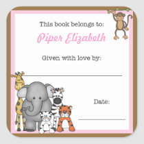 Jungle Animals Book Plate Pink Girl BOOKPLATE
