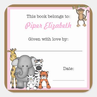 Jungle Animals Book Plate Pink Girl BOOKPLATE