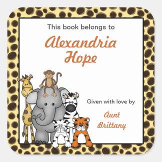 Jungle Animals Book Plates Cheetah Spots Square Sticker
