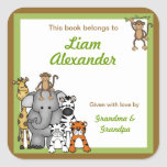 """Jungle Animals Book Plates Green Boy BOOKPLATE<br><div class=""""desc"""">Our cute jungle animals are available on many items.  Please visit our store for coordinating items.  Contact us anytime with questions.</div>"""