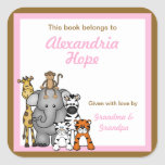 Jungle Animals Book Plates Pink Girl BOOKPLATE Square Stickers