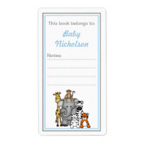 Jungle Animals bookplates blue gray baby shower