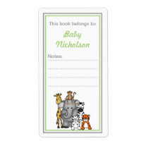 Jungle Animals bookplates green boy baby shower