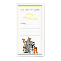 Jungle Animals bookplates yellow gray baby shower