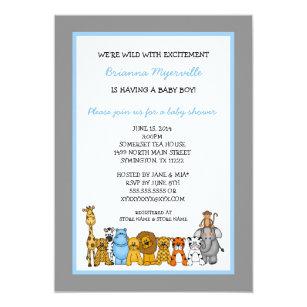 Jungle Animals Boy Baby Shower Invites
