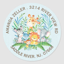 Jungle Animals Boys Baby Shower Address Label