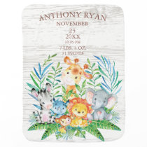 Jungle Animals Boys | Girl Birth Stats Blanket