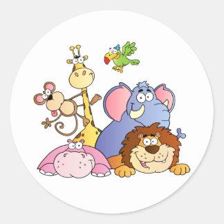 Jungle Animals Classic Round Sticker