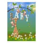 Jungle Animals for Boy Shower Personalized Announcements