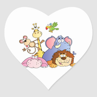Jungle Animals Heart Sticker