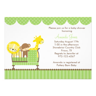 Jungle Animals in a Crib Green Invitations Personalized Announcements