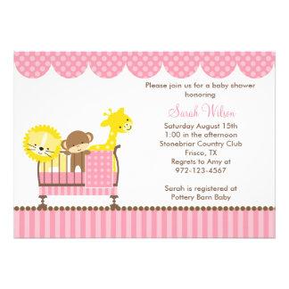 Jungle Animals in a Crib Pink Invitations Custom Invites