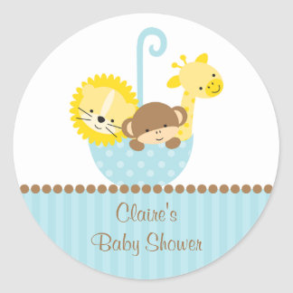 Jungle Animals in Blue Umbrella Stickers