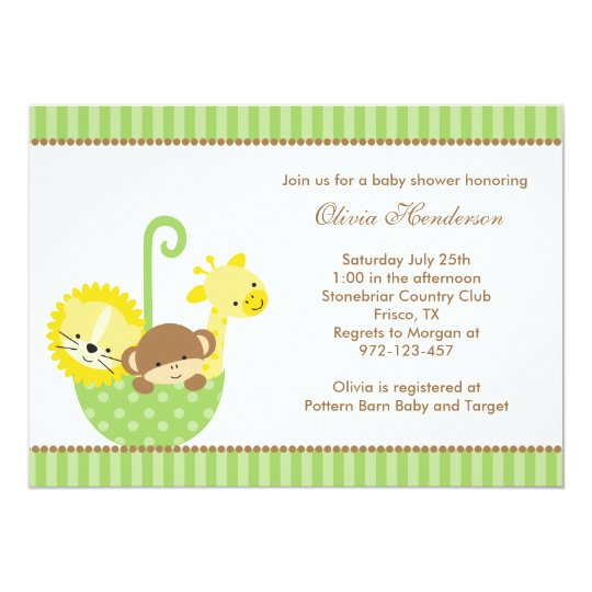 jungle animals in green umbrella invitations zazzle com
