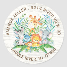 Jungle Animals Neutral Baby Shower Address Label