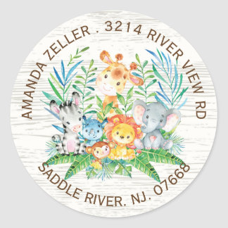Jungle Animals Neutral Baby Shower Address Label