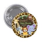 Jungle Animals on Brown Giraffe Animal Print 1 Inch Round Button