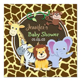Jungle Animals on Brown Giraffe Animal Print Card