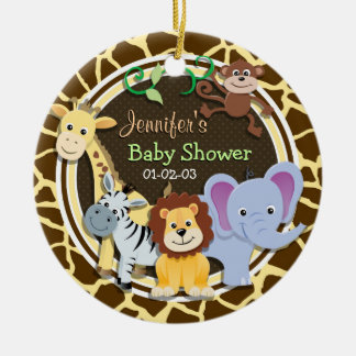 Jungle Animals on Brown Giraffe Animal Print Ceramic Ornament