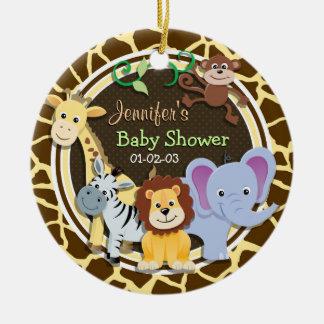 Jungle Animals on Brown Giraffe Animal Print Double-Sided Ceramic Round Christmas Ornament