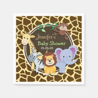 Jungle Animals on Brown Giraffe Animal Print Napkin