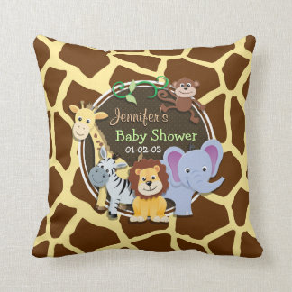 Jungle Animals on Brown Giraffe Animal Print Pillows