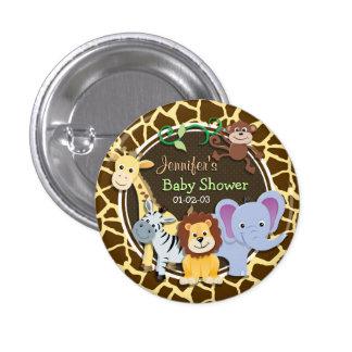 Jungle Animals on Brown Giraffe Animal Print Pinback Button