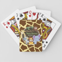 Jungle Animals on Brown Giraffe Animal Print Playing Cards
