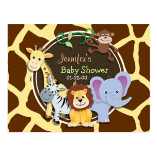 Jungle Animals on Brown Giraffe Animal Print Postcard