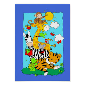 Jungle animals painting themselves and the world. poster