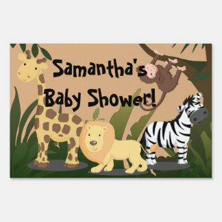 Jungle Animals Personalized Baby Shower Yard Sign