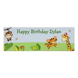 Jungle Animals Personalized Birthday Banner Posters