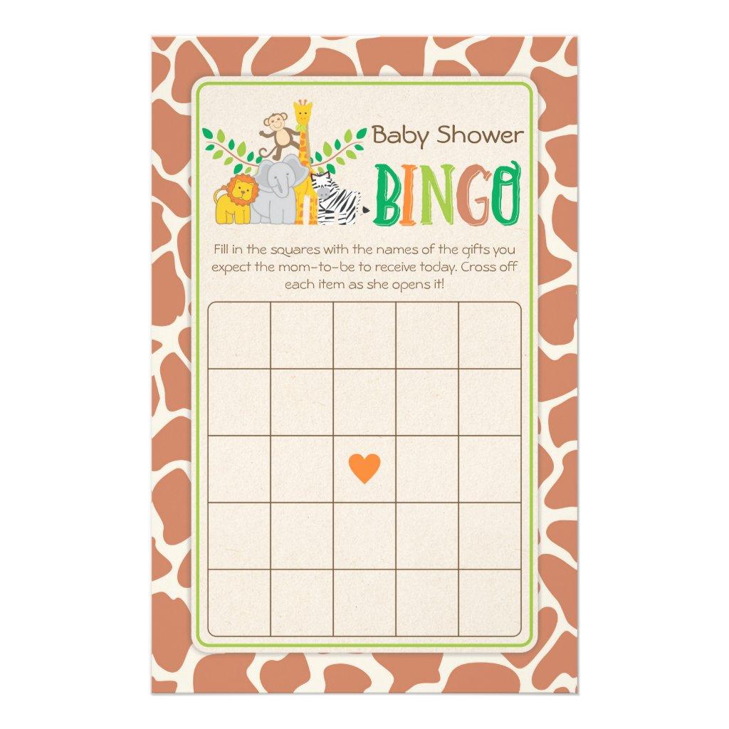 Jungle Animals Safari Baby Shower Bingo Game Flyer