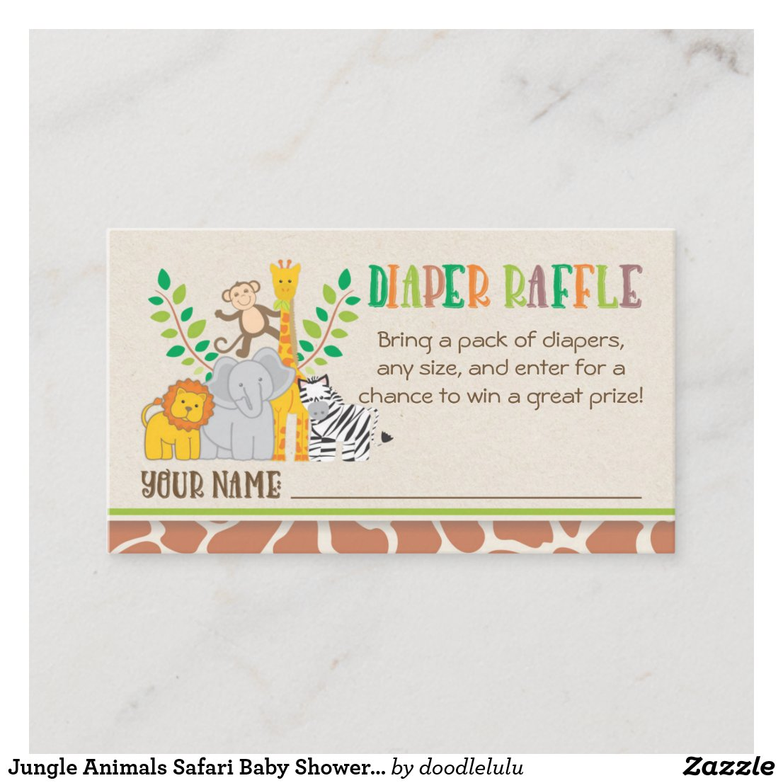 Jungle Animals Safari Baby Shower Diaper Raffle Enclosure Card