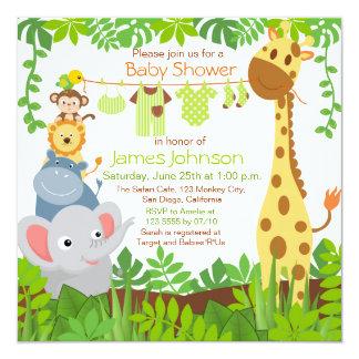 Jungle Animals Safari Baby Shower Invitation