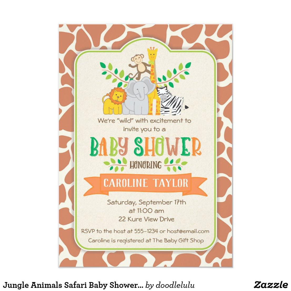 Jungle Animals Safari Baby Shower Invitation