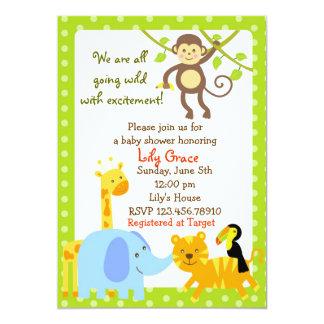 Jungle Animals Safari Baby Shower invitations