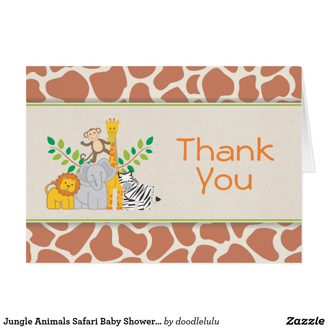Jungle Animals Safari Baby Shower Thank You Card