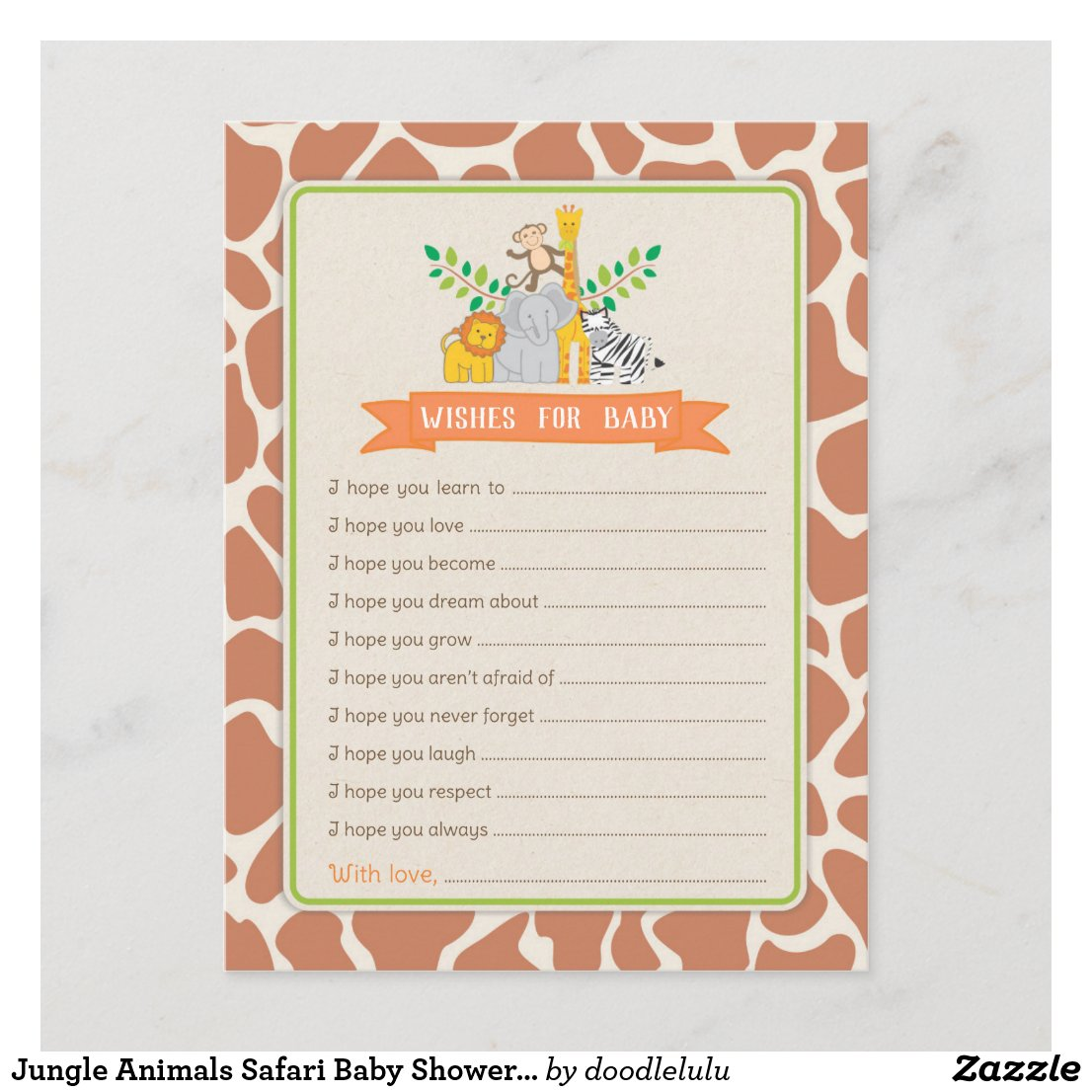 Jungle Animals Safari Baby Shower Wishes for Baby Advice Card