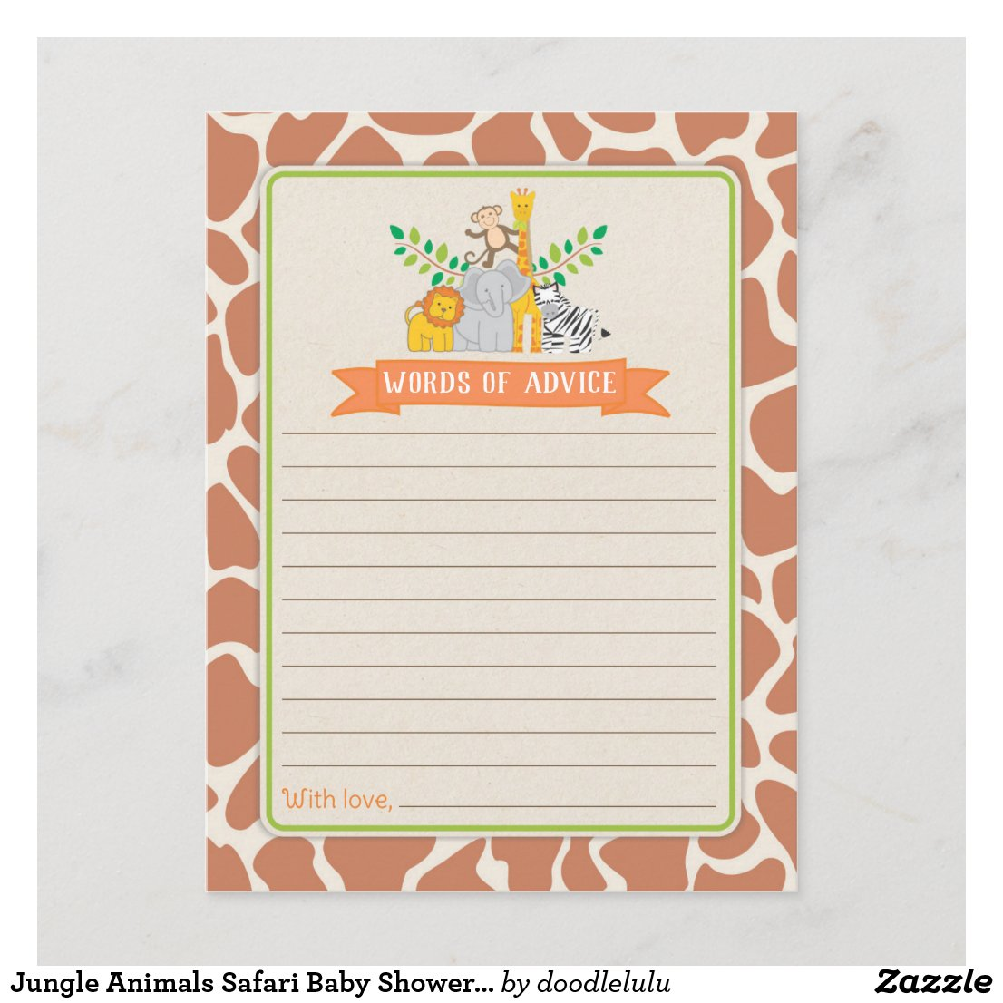 Jungle Animals Safari Baby Shower Words of Advice