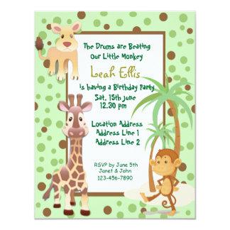 jungle animals safari birthday invitation