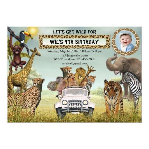 Jungle Animals Safari Birthday Photo Invitation | Zazzle