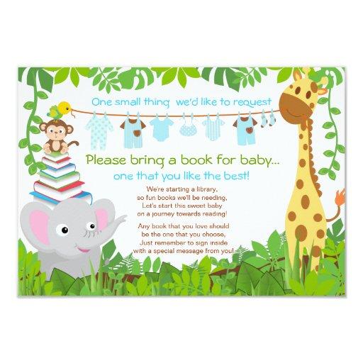 jungle animals safari boy baby shower book card zazzle