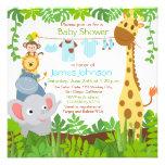 Jungle Animals Safari Boy Baby Shower Invitation Invitation