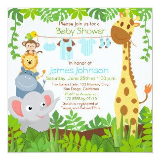 Jungle Animals Safari Boy Baby Shower Invitation