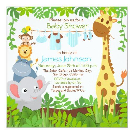 jungle animals safari boy baby shower invitation zazzle