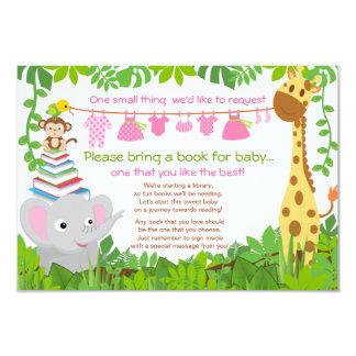 Jungle Animals Safari Girl Baby Shower Book Card