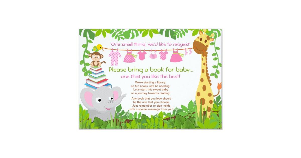 jungle animals safari girl baby shower book card zazzle